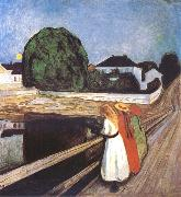 Edvard Munch Girls on a Bridge oil painting