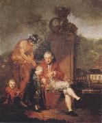 Januarius Zick Gottfried Peter de Requile with his two sons and Mercury oil painting reproduction