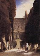 Karl Blechen The Gardens of the Villa d-Este oil painting reproduction