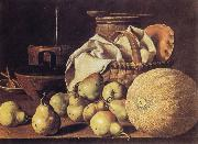 Melendez, Luis Eugenio Still Life with Melon and Pears oil painting