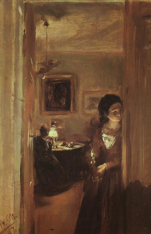 Adolph von Menzel The Artist's Sister with a Candle