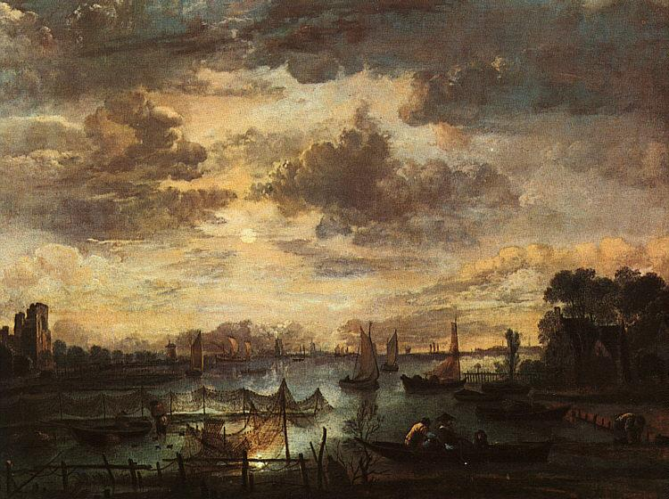 Aert van der Neer River Scene with Fishermen