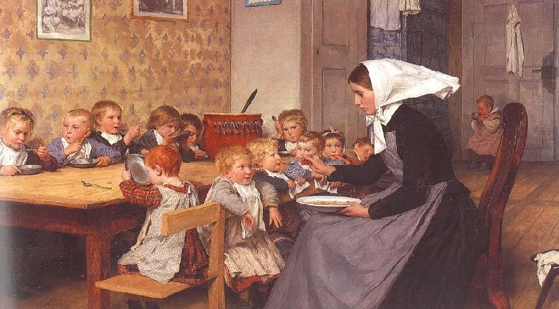 Albert Anker The Creche oil painting image