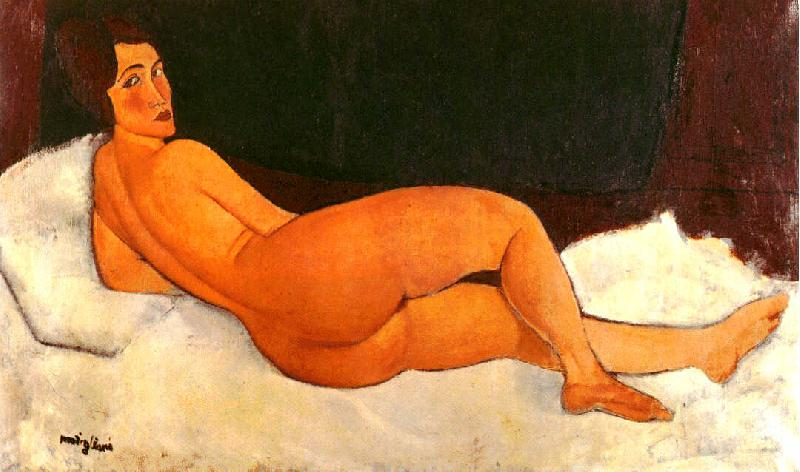 Amedeo Modigliani Nude, Looking Over Her Right Shoulder oil painting image