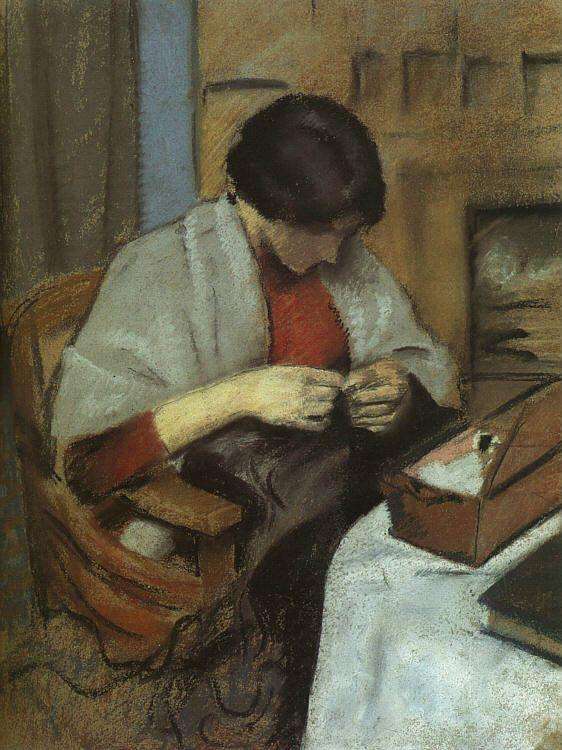 August Macke Elisabeth Gerhardt Sewing oil painting image