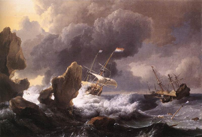 BACKHUYSEN, Ludolf Ships in Distress off a Rocky Coast oil painting image