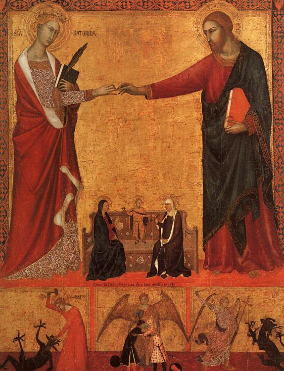Barna da Siena The Mystical Marriage of St.Catherine oil painting image