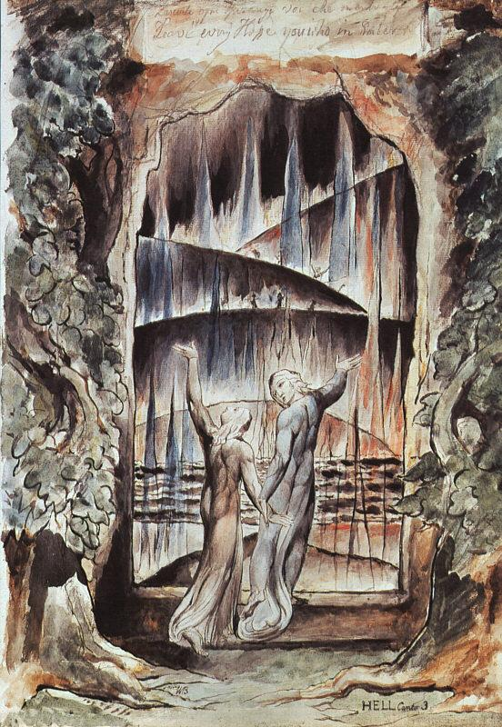 Blake, William Dante and Virgil at the Gates of Hell oil painting image