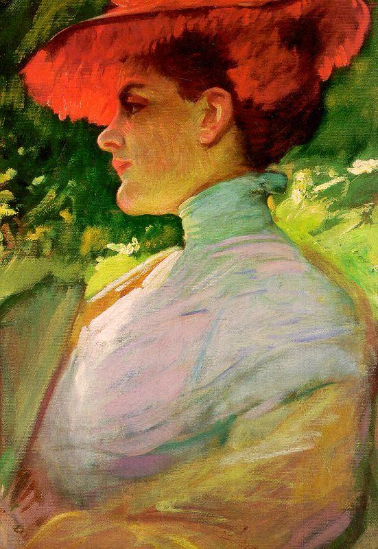 Frank Duveneck Lady With a Red Hat oil painting image