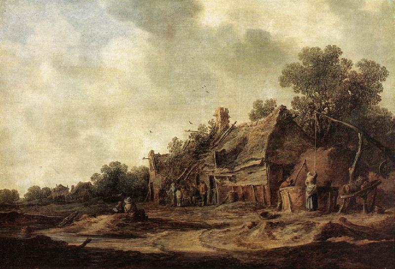GOYEN, Jan van Peasant Huts with a Sweep Well sdg