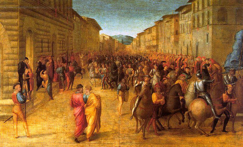 GRANACCI, Francesco Entry of Charles VIII into Florence  dfg oil painting image