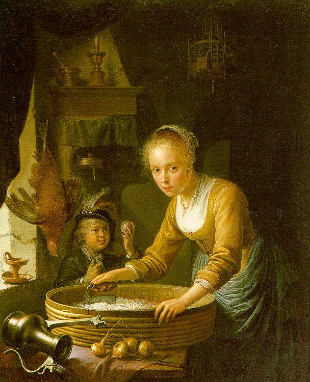Gerrit Dou Girl Chopping Onions oil painting image