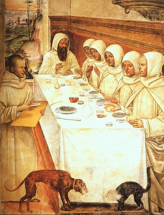 Giovanni Sodoma St.Benedict his Monks Eating in the Refectory