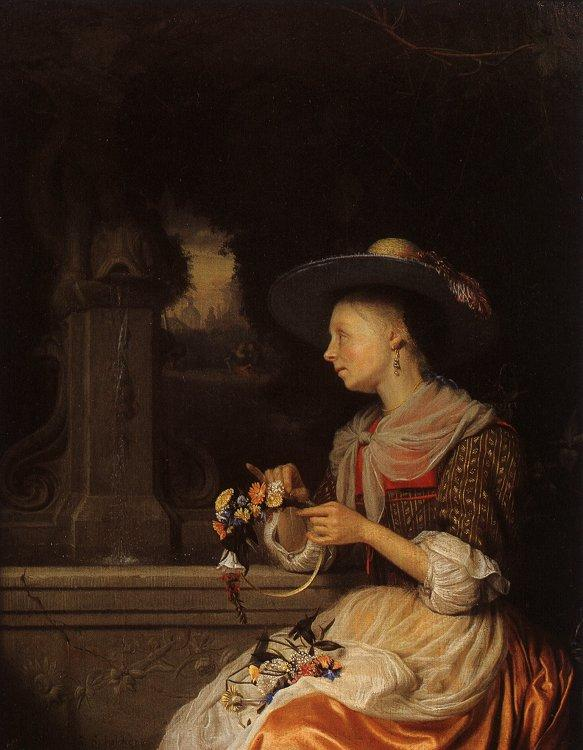 Godfried Schalcken Young Woman Weaving a Garland oil painting image