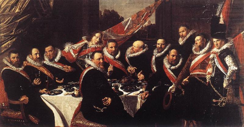 HALS, Frans Banquet of the Officers of the St George Civic Guard (detail) af oil painting image