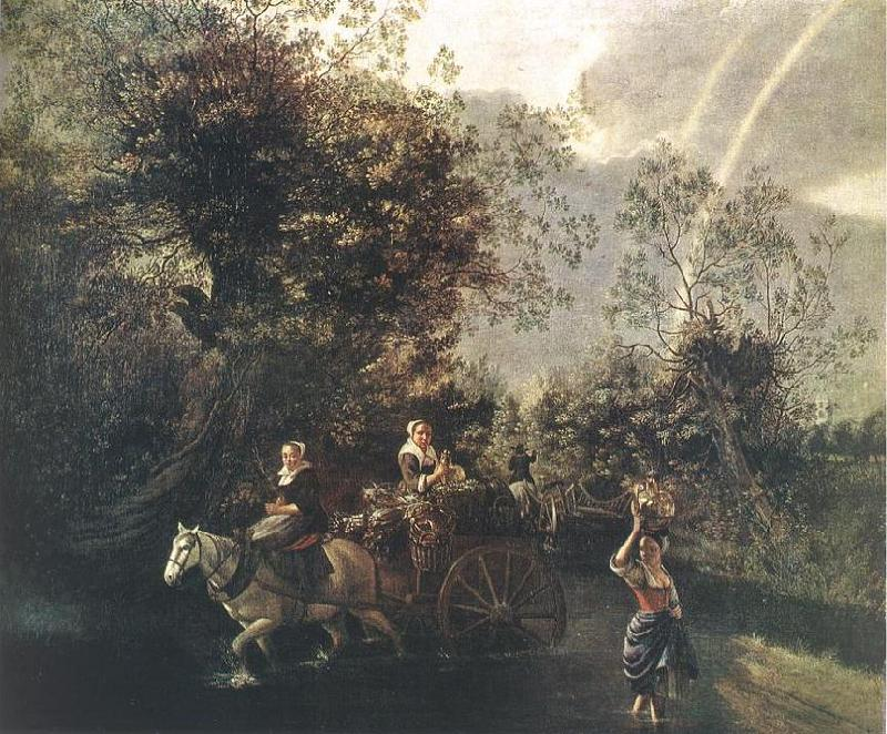 Jan Siberechts Crossing a Creek oil painting image