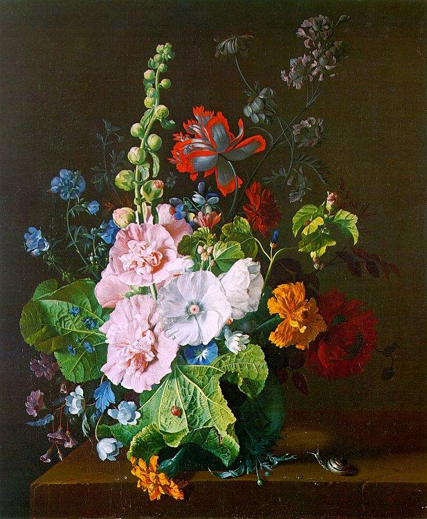 Jan van Huysum Hollyhocks and other Flowers in a Vase oil painting image