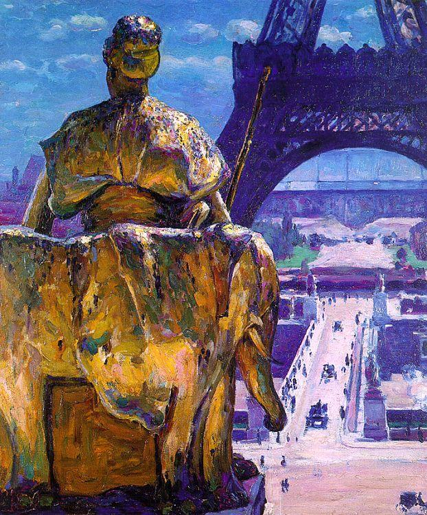 Louis Welden Hawkins The Eiffel Tower as seen from The Trocadero oil painting image