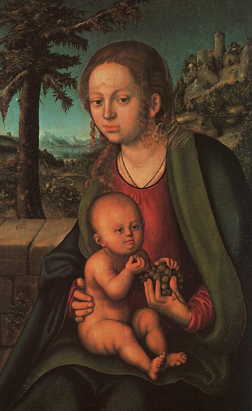 Lucas  Cranach The Madonna with the Bunch of Grapes