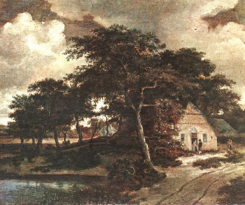 Meindert Hobbema Landscape with a Hut oil painting image