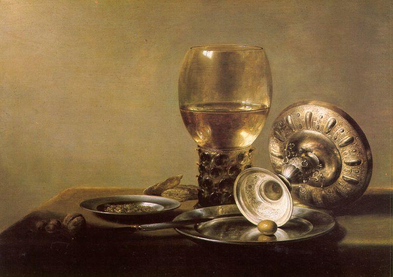 Pieter Claesz Still Life with Wine Glass and Silver Bowl