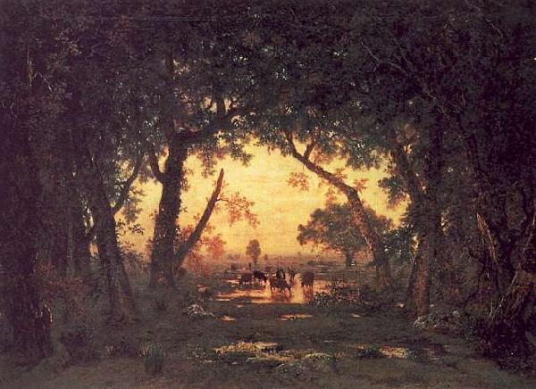 Theodore Rousseau The Forest of Fontainebleau, Morning oil painting image