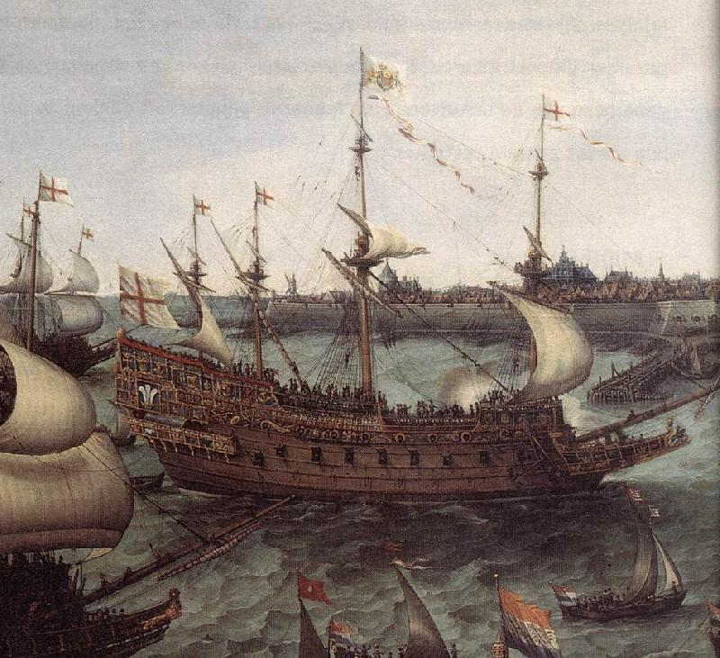 VROOM, Hendrick Cornelisz. The Arrival at Vlissingen of the Elector Palatinate Frederick V (detail) ar oil painting image