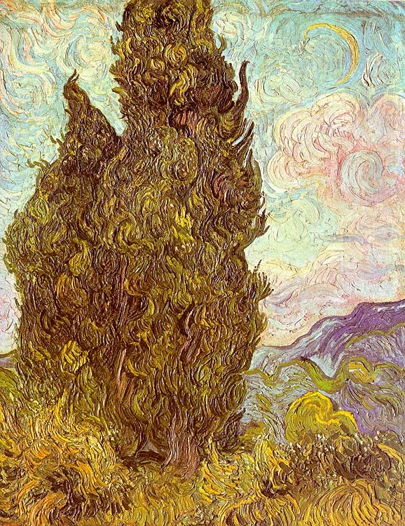 Vincent Van Gogh Two Cypresses oil painting image