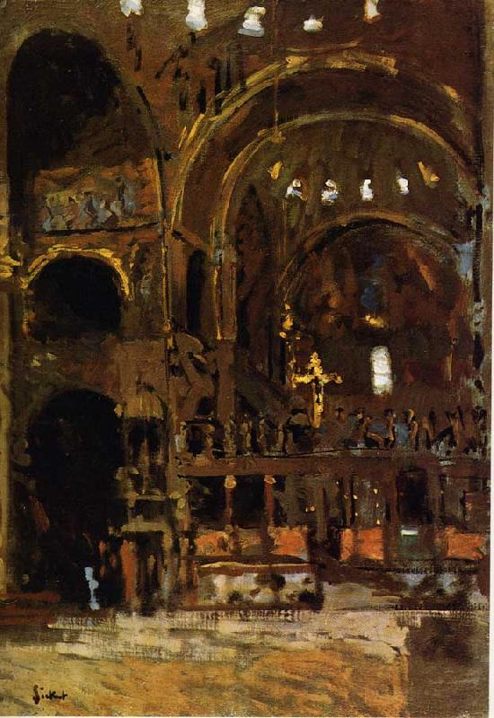 Walter Sickert Interior of St Mark's, Venice oil painting image