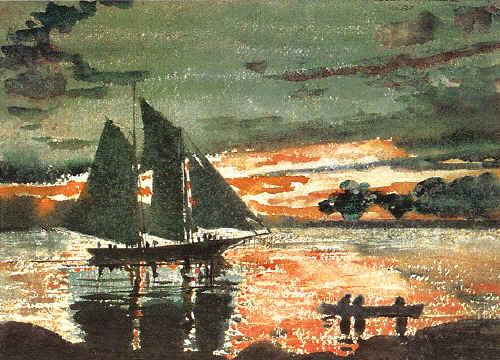 Winslow Homer Sunset Fires oil painting image