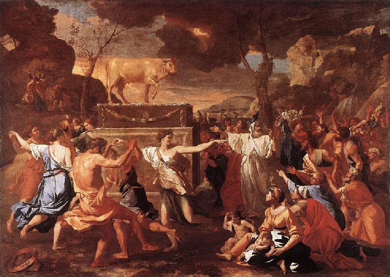 POUSSIN, Nicolas The Adoration of the Golden Calf g oil painting image