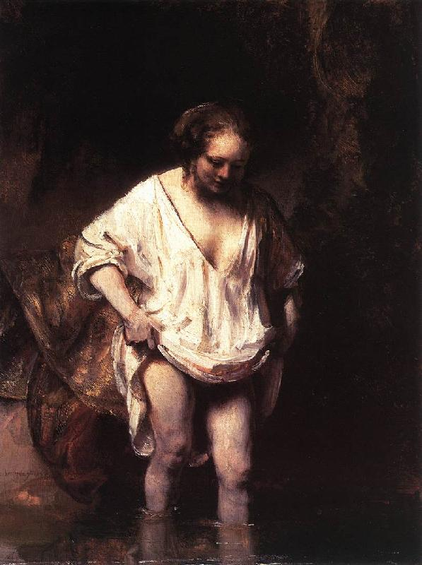 REMBRANDT Harmenszoon van Rijn Hendrickje Bathing in a River oil painting image