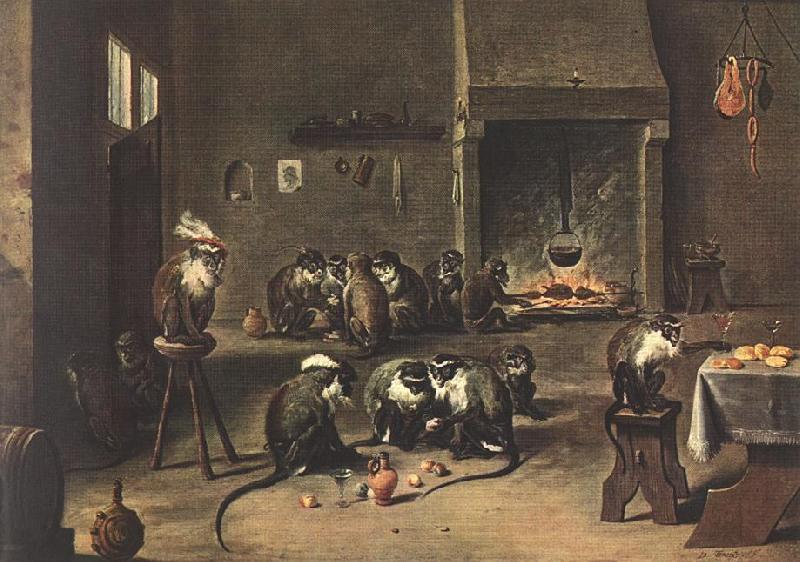 TENIERS, David the Younger Apes in the Kitchen  fdh oil painting image