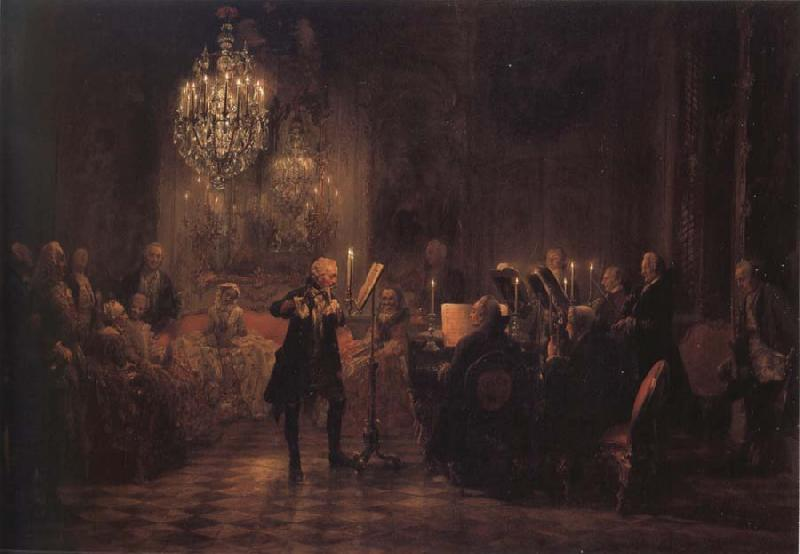 Adolph von Menzel The Flute concert of Frederick the Great at Sanssouci oil painting image