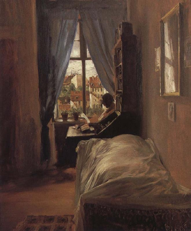 Adolph von Menzel The Artist-s Bedroom in the Ritterstrabe oil painting image