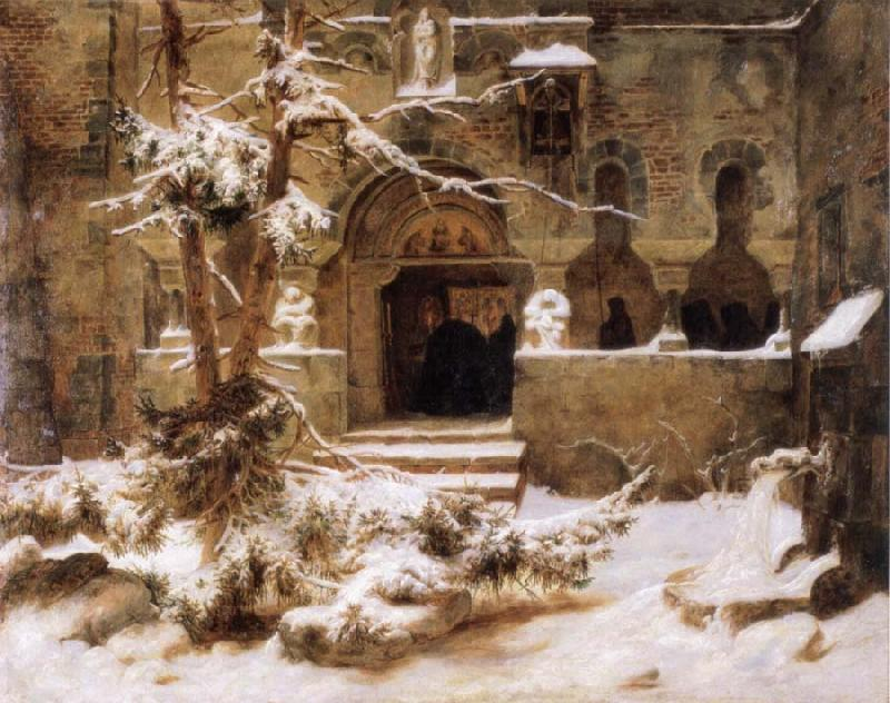 Carl Friedrich Lessing Monastery Courtyard in the Snow