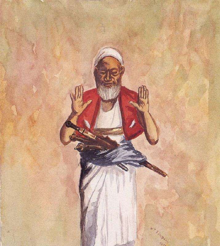 William Simpson A Muslim with Raised Hands oil painting image