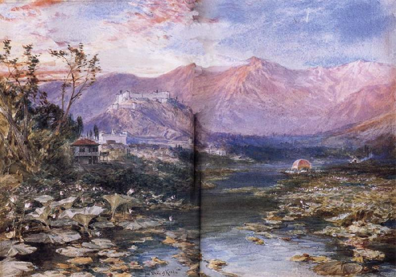 William Simpson The Lake of Kashmir at Shrinagar oil painting image