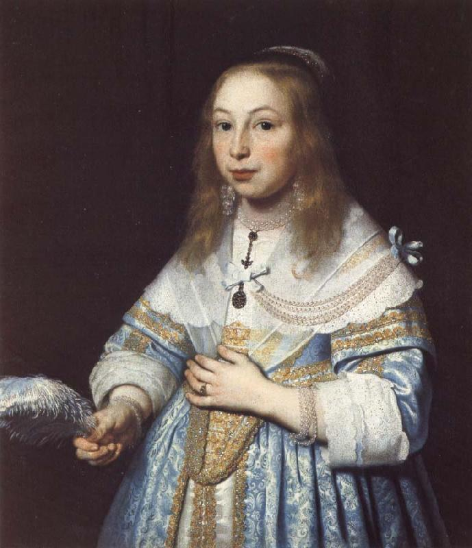 Bartholomeus van der Helst Portrait of a Girl in Pale Blue with an Ostrich Feather Fan oil painting image
