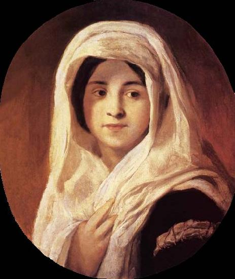 Brocky, Karoly Portrait of a Woman with Veil oil painting image