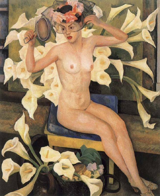 Diego Rivera Nude and flower oil painting image