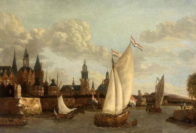 Jacobus Vrel Capriccio View of Haarlem oil painting image