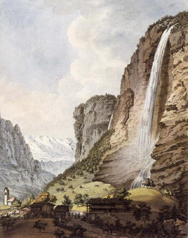 Johann Ludwig Aberli Fall d-eau apellee Staubbach in the Vallee Louterbrunen oil painting image