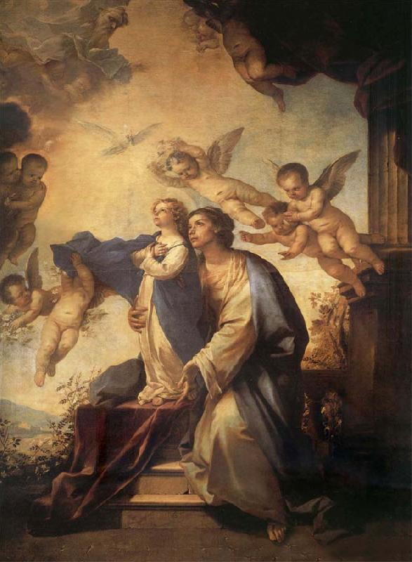 Luca Giordano Holy Ana and the nina Maria Second mitade of the 17th century oil painting image