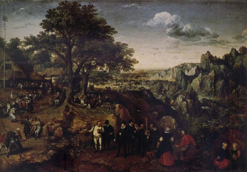 Lucas van Valckenborch Landscape with Village Festival