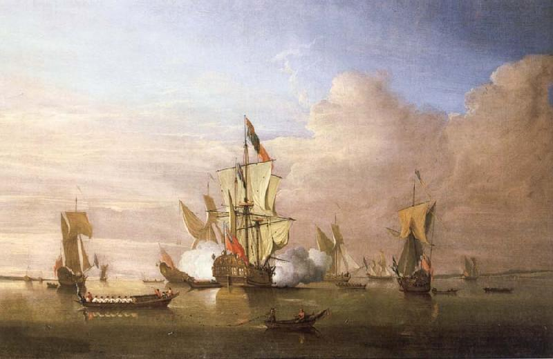 Monamy, Peter The Royal yacht Peregrine arriving in the Thames estuary with King George i aboard in September 1714 oil painting image