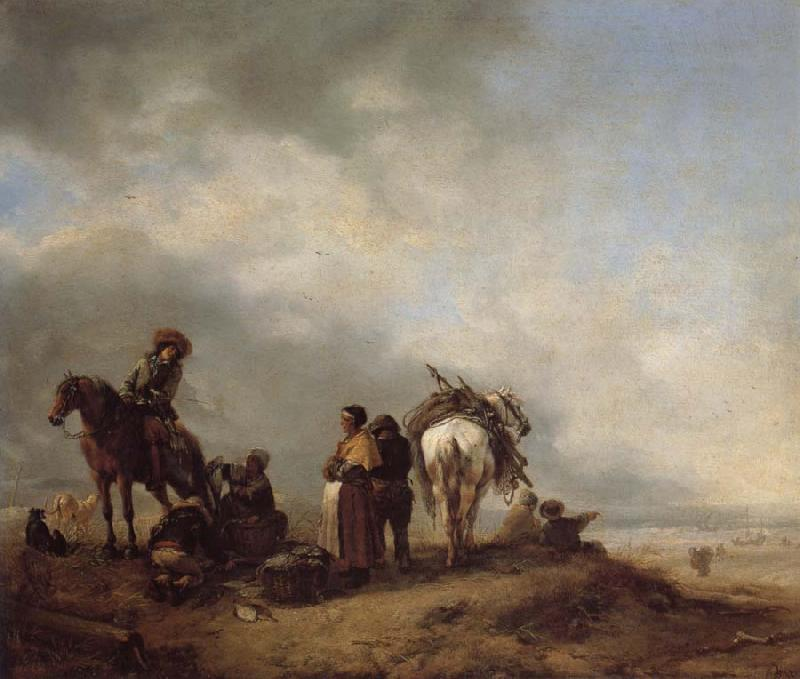 Philips Wouwerman A View on a Seashore with Fishwives Offering Fish to a Horseman oil painting image