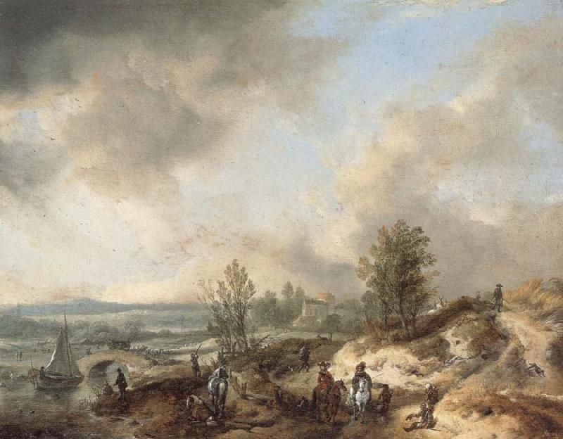 Philips Wouwerman A Dune Landscape with a River and Many Figures oil painting image