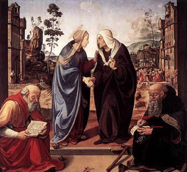 Piero di Cosimo The Visitation with Sts Nicholas and Anthony
