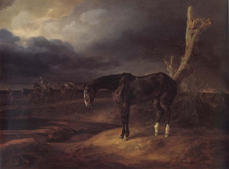 Adam Albrecht A gentleman loose horse on the battlefield of Borodino 1812 oil painting image